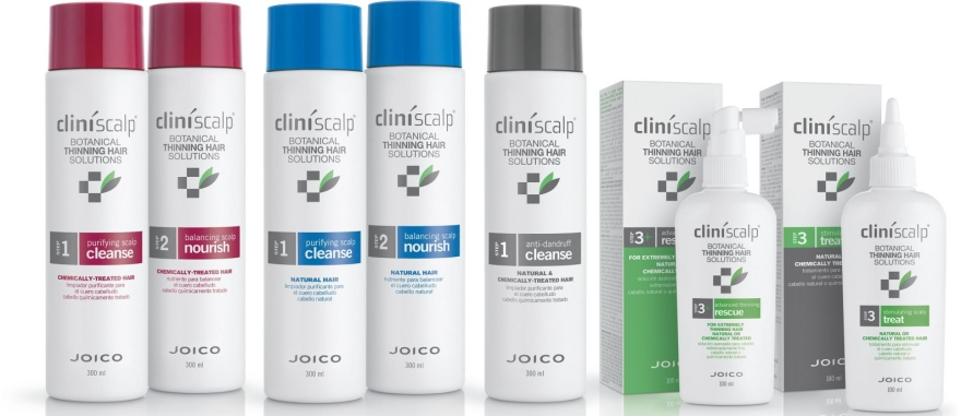 Set împotriva cheliei, păr natural - Joico Cliniscalp 3-step Trial Kit For Natural Hair Advanced Stages (shmp/100ml + cond/100ml + treat/50ml) — Imagine N3