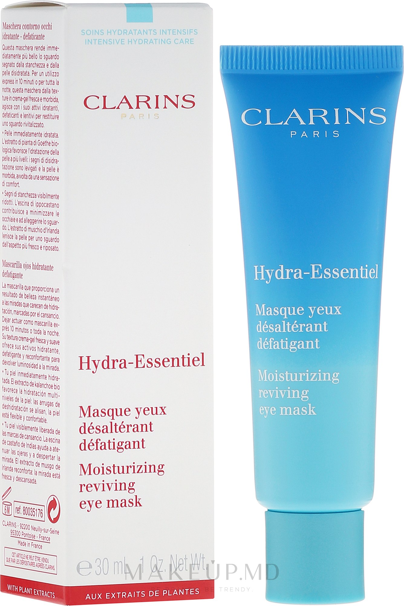 Masca pentru contur de ochi - Clarins Hydra-Essentiel Moisturizing Reviving Eye Mask — Imagine 30 ml