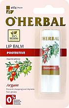 Parfumuri și produse cosmetice Balsam protector pentru buze cu ulei de argan - O'Herbal Protective Lip Balm with argan oil
