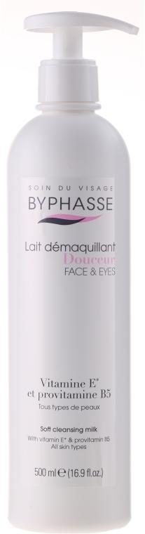 Lapte demachiant pentru curățarea feței și ochilor cu dozator - Byphasse Soft Cleansing Milk Face & Eyes All Skin Types (pompă)