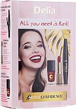 Parfumuri și produse cosmetice Set - Delia Cosmetics All You Need Is Red (lip/stick/4g + mascara/12ml + n/polish/11ml)
