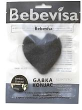 """Parfumuri și produse cosmetice Burete pentru curățarea feței, inimă """"Cărbune din bambus"""" - Bebevisa Konjac Sponge"""