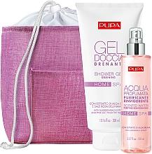 Parfumuri și produse cosmetice Set - Pupa Home Spa Purifying Reinvigorating Bladderwrack Extract (sh/gel/300ml + scented/water/150ml + bag/1pcs)