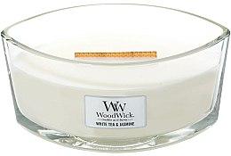 Parfumuri și produse cosmetice Lumânare aromată cu suport din sticlă - WoodWick Hearthwick Flame Ellipse Candle White Tea & Jasmine