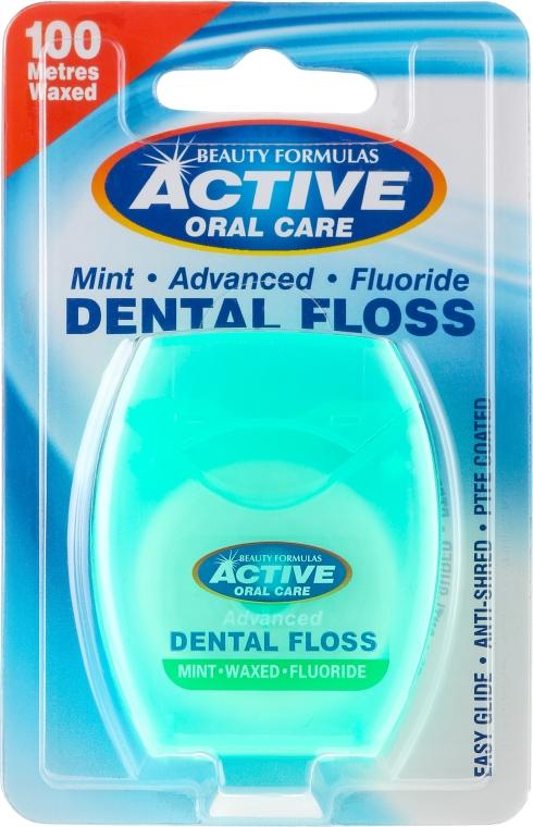 Ață Dentară cu Fluorura și Mentă - Beauty Formulas Active Oral Care Dental Floss Mint Waxed + Fluor 100m