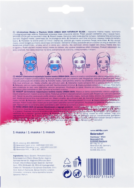 Mască nutritivă de 10 minute pentru față - Nivea Natural Radiance 10 Minutes Sheet Mask — Imagine N2