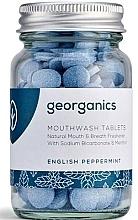 """Parfumuri și produse cosmetice Tablete de clătire pentru cavitatea bucală """"English mint"""" - Georganics Natural Mouthwash Tablets English Peppermint"""