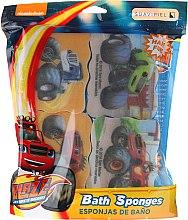 Parfumuri și produse cosmetice Set bureți de baie pentru copii, 3 culori - Suavipiel Bath Sponges Blaze And The Monster Machines