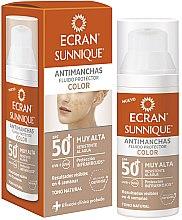 Parfumuri și produse cosmetice Fluid cu protecție solară pentru față - Ecran Sunnique Antimanchas Color Spf50+