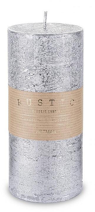 Lumânare decorativă, argintie, 7x18cm - Artman Rustic Metalic — Imagine N1