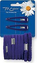 Parfumuri și produse cosmetice Set agrafe și elastice de păr, mov, 2+12 bucăți - Top Choice