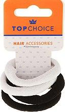 Parfumuri și produse cosmetice Elastice pentru păr 4 buc., negre și albe - Top Choice