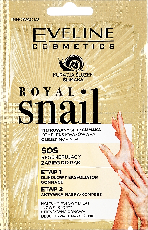 Mască-peeling pentru mâini - Eveline Cosmetics Royal Snail Sos Regenerating Hand Treatment