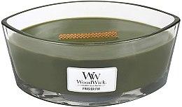 Parfumuri și produse cosmetice Lumânare aromată cu suport din sticlă - WoodWick Hearthwick Flame Ellipse Candle Frasier Fir