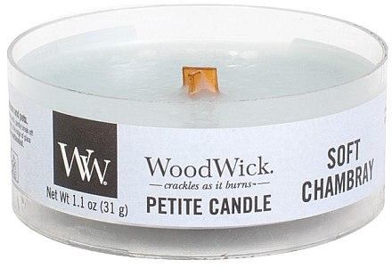 Lumânare aromată în suport de sticlă - Woodwick Petite Candle Soft Chambray — Imagine N1