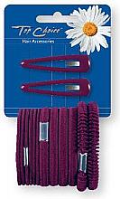 Parfumuri și produse cosmetice Set agrafe și elastice de păr, bordo, 2+12 bucăți - Top Choice