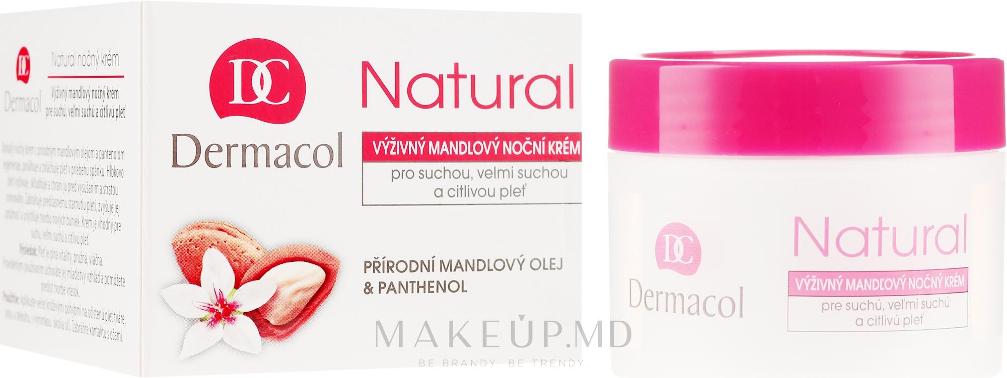 Cremă de noapte pentru față - Dermacol Natural Almond Oil Nourishing Care Cream — Imagine 50 ml
