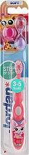 Parfumuri și produse cosmetice Periuță de dinți Step 2 (3-5 ani) moale, Roz cu girafă - Jordan