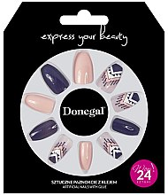 Parfumuri și produse cosmetice Set de unghii false, violet cu bej - Donegal Express Your Beauty