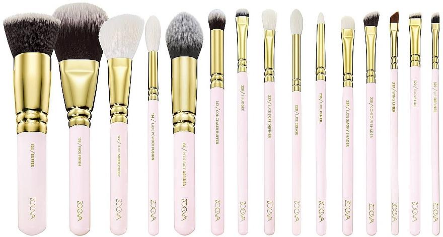 Set pensule pentru machiaj - Zoeva Screen Queen Complete Set (15 brushes + clutch) — Imagine N2
