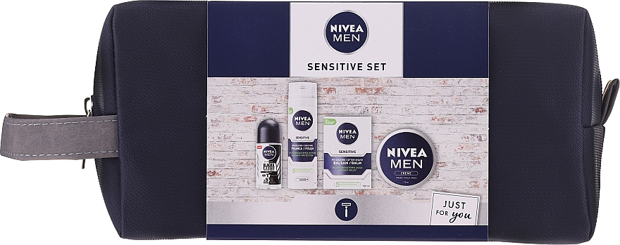 Set - Nivea Men Sensitive Elegance 2020 (foam/200ml + af/sh/balm/100ml + deo/50ml + cr/75ml + bag) — Imagine N1