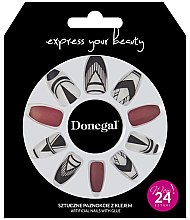 Parfumuri și produse cosmetice Set de unghii false, roșii cu alb - Donegal Express Your Beauty