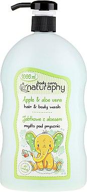 """Șampon-gel de duș pentru copii """"Măr și Aloe Vera"""" - Bluxcosmetics Naturaphy Hair & Body Wash"""