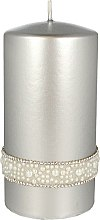 Parfumuri și produse cosmetice Lumânare decorativă, argintie, 7x14 cm - Artman Crystal Opal Pearl