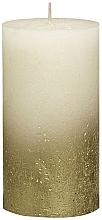 Parfumuri și produse cosmetice Lumânare cilindrică Rustic Metallic Gold, 130/68 mm - Bolsius Candle