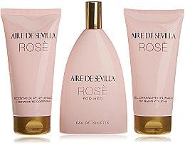 Parfumuri și produse cosmetice Instituto Español Aire de Sevilla Rose - Set ( edt/150ml + b/milk/150ml + sh/cr/150ml)