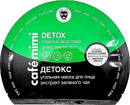 """Parfumuri și produse cosmetice Mască de țesut cu cărbune """"Detox"""" - Cafe Mimi Detox Charcoal Face Mask Green Tea Extract"""