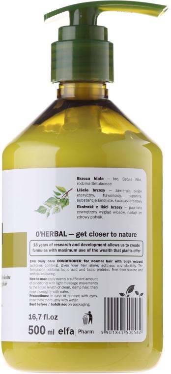 Balsam de păr condiționat pentru utilizare zilnică cu extract de mesteacăn - O'Herbal — Imagine N2