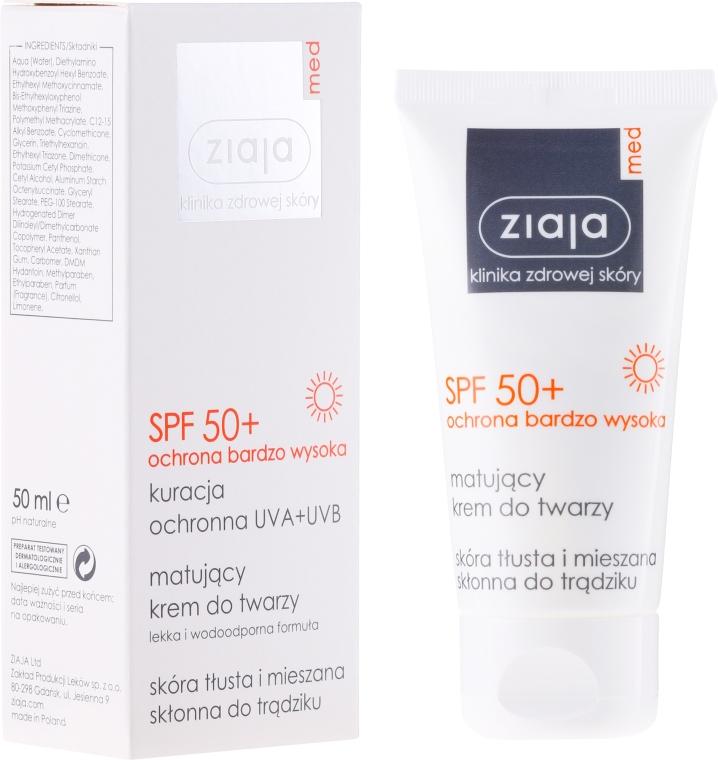 Cremă de față pentru pielea grasă și combinată SPF 50+ - Ziaja Med Matting Cream Oily And Combination Spf 50