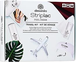 Parfumuri și produse cosmetice Set - Alessandro International Striplac Peel Or Soak Travel Kit (n/cleaner/15ml + top/coat/5ml + cotton/pads/20pcs + led/lamp)