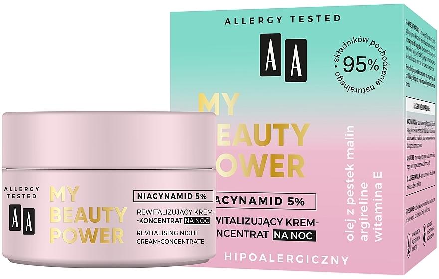 Cremă-concentrat regenerantă de noapte pentru față - AA My Beauty Power Niacynamid 5% Revitalizing Night Cream-Concentrate