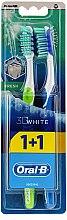 Parfumuri și produse cosmetice Set periuțe de dinți, 40 duritate medie, verde+ albastru - Oral-B 3D White Fresh 40 Medium 1+1