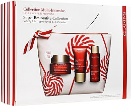 Parfumuri și produse cosmetice Set - Clarins Super Restorative Christmas Set (cr/50ml + cr/15ml + essence/50ml + bag)
