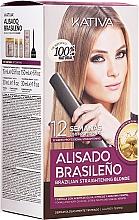 Parfumuri și produse cosmetice Set cu keratină pentru îndreptarea parului blond - Kativa Alisado Brasileno Straighten Blonde (shm/15ml + mask/150ml + shm/30ml + cond/30ml)