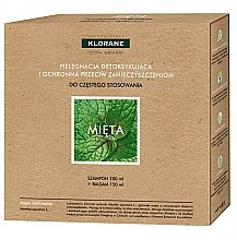 Parfumuri și produse cosmetice Set - Klorane Aquatic Mint (shm/200ml + h/balm/150ml)