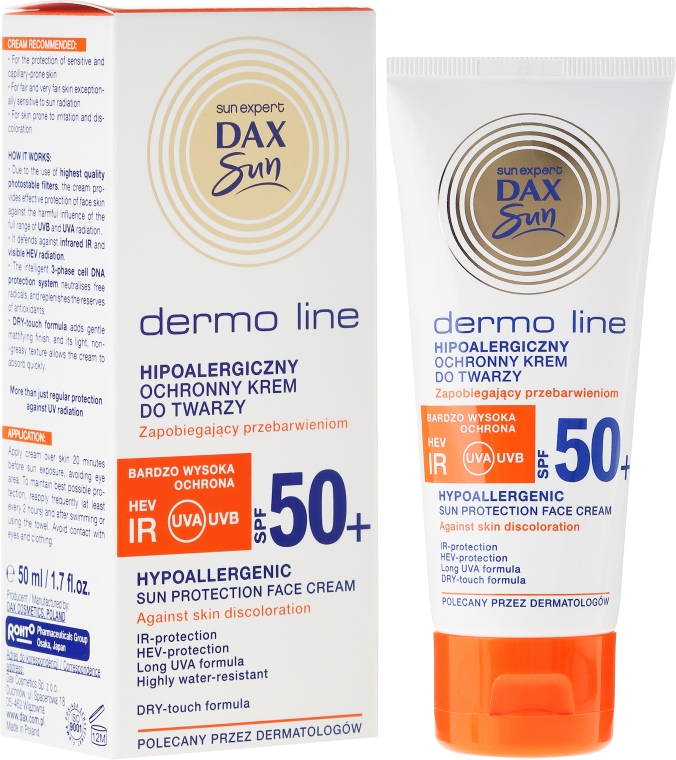 Cremă hipoalergenică pentru față - DAX Sun Dermo Line Face Cream SPF 50 — Imagine N1