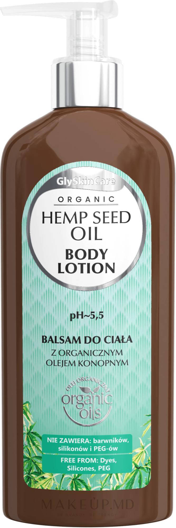 Loțiune de corp cu ulei organic de cânepă - GlySkinCare Hemp Seed Oil Body Lotion — Imagine 250 ml
