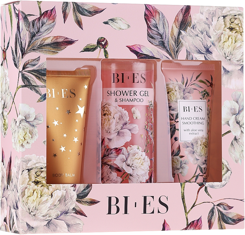 Bi-es Blossom Garden - Set (sh/gel/200ml + b/balm/50ml + h/cr/50ml)Set pensule pentru machiaj, T092, 15buc — Imagine N1