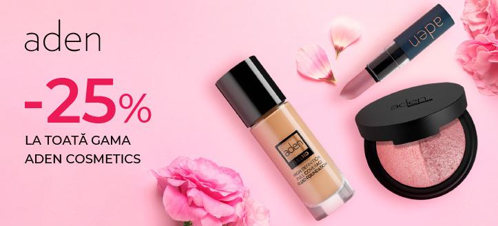 Reducere 25% la toată gama Aden Cosmetics. Prețurile de pe site sunt indicate cu reduceri
