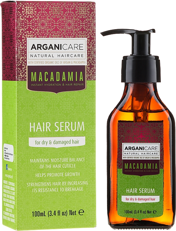 "Ser pentru păr ""Capete deteriorate"" - Arganicare Macadamia Hair Serum for Dry & Damaged Hair"