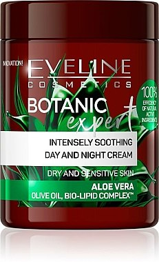 Cremă calmantă pentru față - Eveline Cosmetics Botanic Expert Aloe Vera Day & Night Cream — Imagine N1