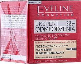 Parfumuri și produse cosmetice Cremă exfoliantă anti-îmbătrânire împotriva ridurilor 65+ - Eveline Cosmetics Expert Cream-Serum 65+