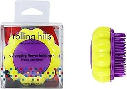 """Parfumuri și produse cosmetice Perie compactă de păr """"Mușețel"""", galben / liliac - Rolling Hills Brosse Desenredar Flower"""