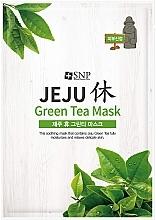 Parfumuri și produse cosmetice Mască calmantă cu ceai verde, din țesut, pentru față - SNP Jeju Rest Green Tea Mask