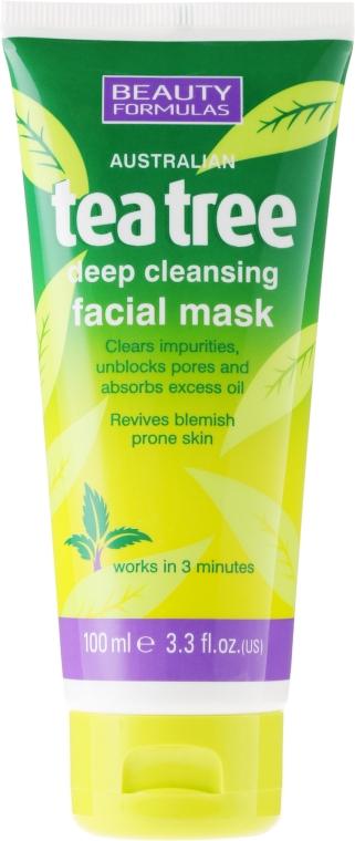 """Mască de față pentru curățare profundă """"Arbore de ceai"""" - Beauty Formulas Tea Tree Deep Cleansing Facial Mask"""