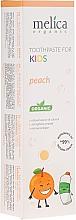 """Parfumuri și produse cosmetice Pastă de dinți pentru copii """"Piersic"""" - Melica Organic Toothpaste For Kids Peach"""
